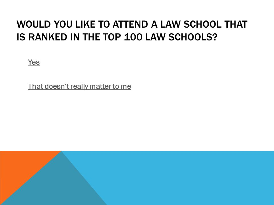 WOULD YOU LIKE TO ATTEND A LAW SCHOOL THAT IS RANKED IN THE TOP 100 LAW SCHOOLS.