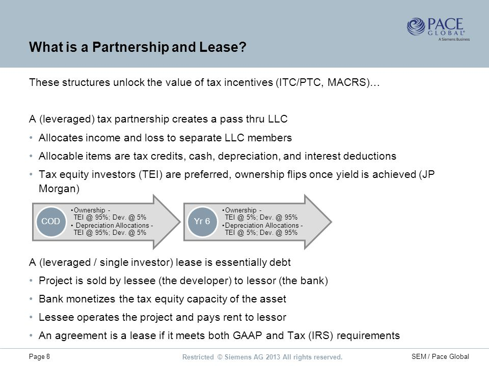 Restricted © Siemens AG 2013 All rights reserved. Page 8SEM / Pace Global What is a Partnership and Lease? These structures unlock the value of tax in