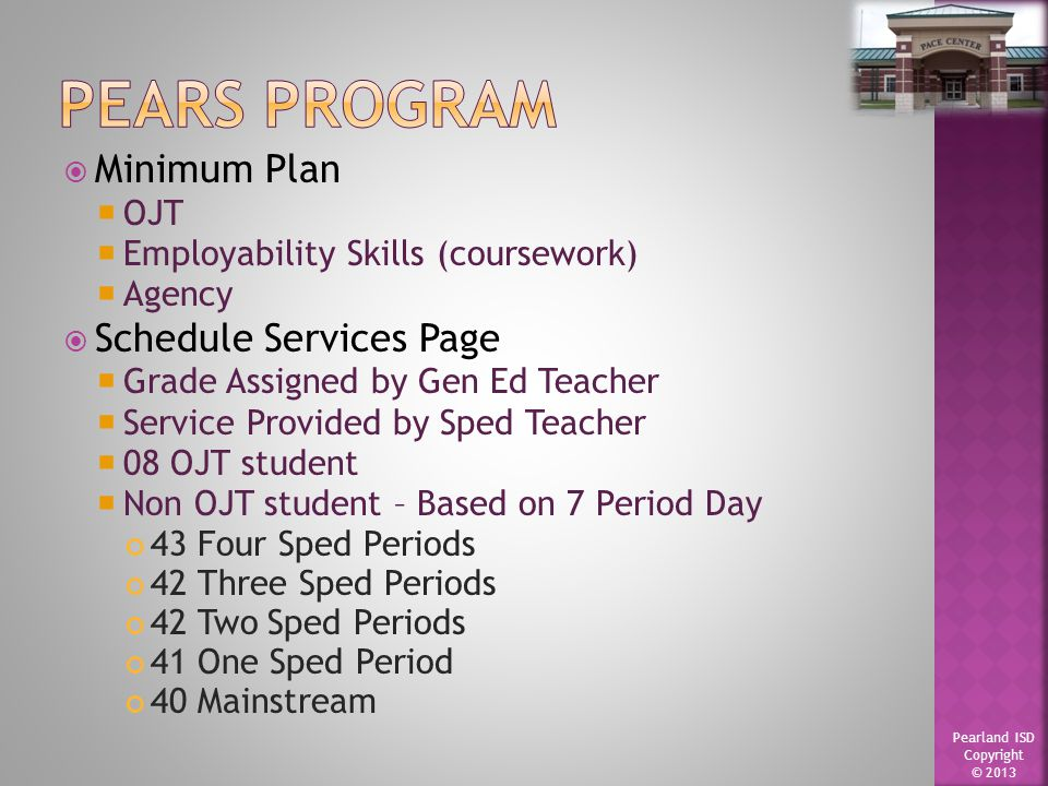 Pearland ISD Copyright © 2013  2 ELA  2 Math  2 Social Studies  1 Science  1 Credit Recovery/Virtual Courses/ PE/ Health  2 CTE  1-PEP/PRS  Assists with all PACE Programs