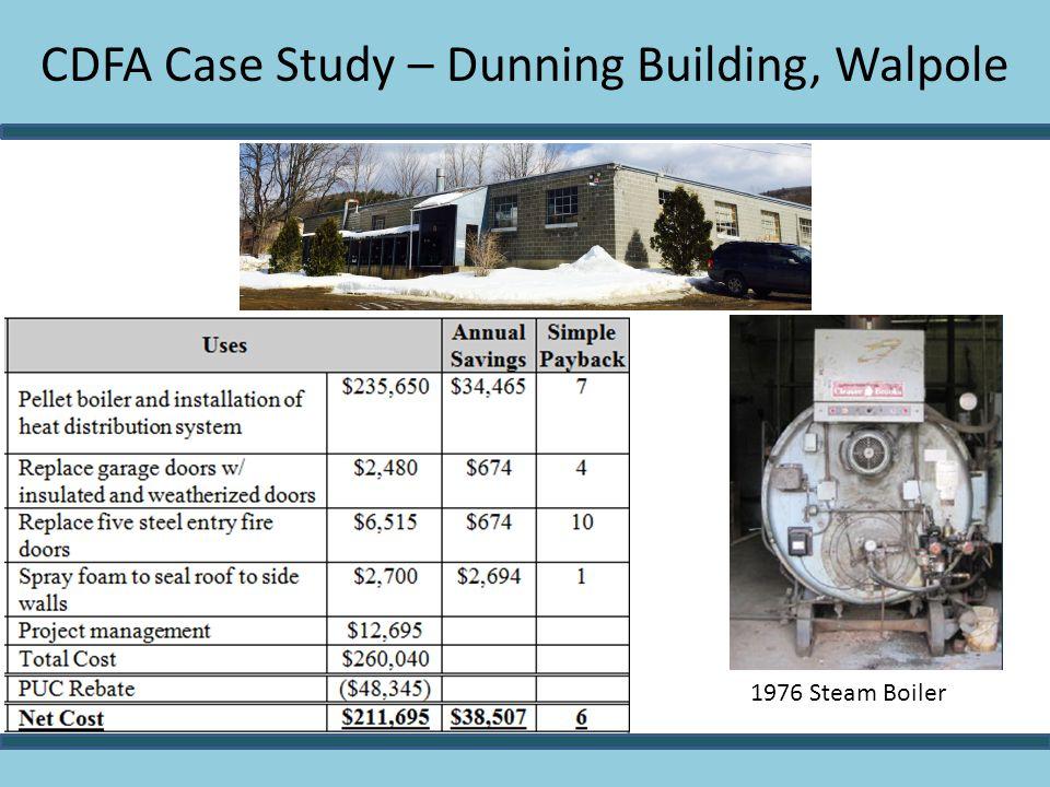 CDFA Case Study – Dunning Building, Walpole 1976 Steam Boiler