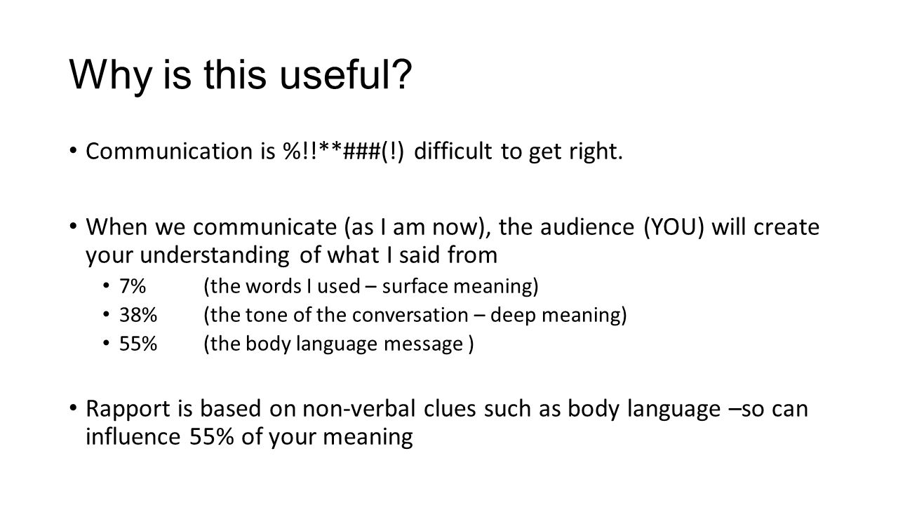 Why is this useful. Communication is %!!**###(!) difficult to get right.