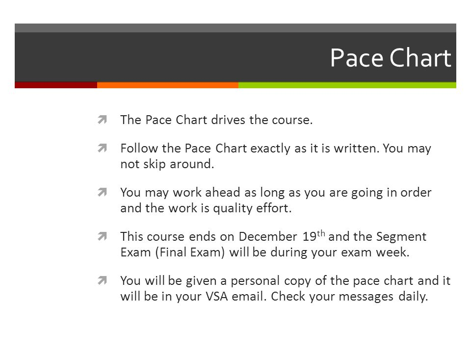 Pace Chart  The Pace Chart drives the course.  Follow the Pace Chart exactly as it is written.