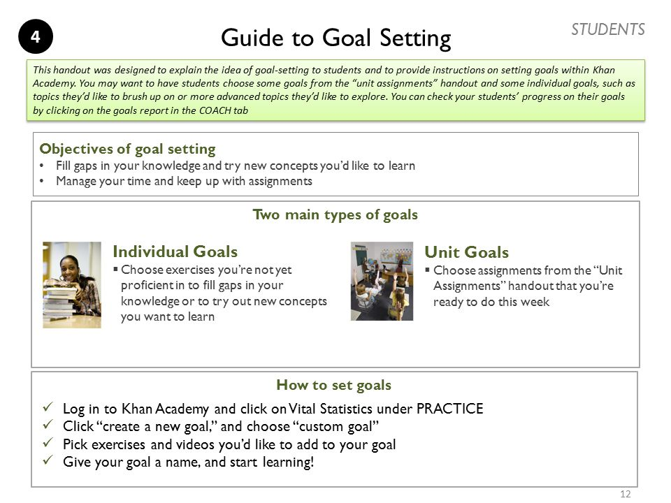 Guide to Goal Setting Objectives of goal setting Fill gaps in your knowledge and try new concepts you'd like to learn Manage your time and keep up wit