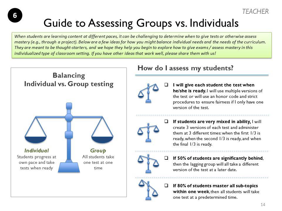 Balancing Individual vs. Group testing Guide to Assessing Groups vs. Individuals Group All students take one test at one time Individual Students prog