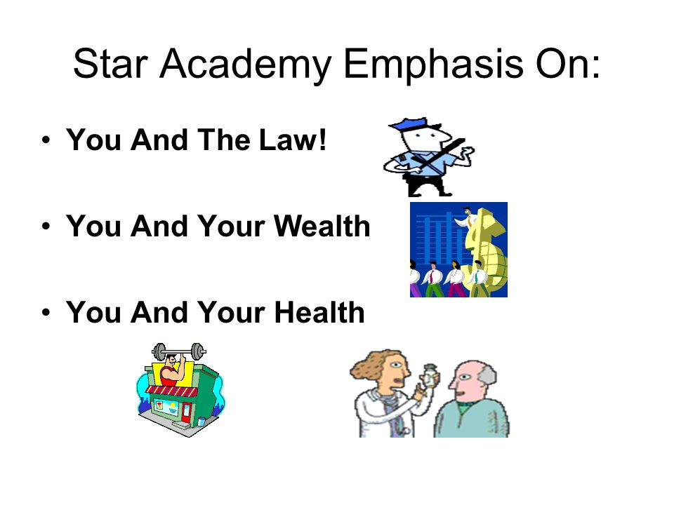 Star Academy Emphasis On: You And The Law! You And Your Wealth You And Your Health