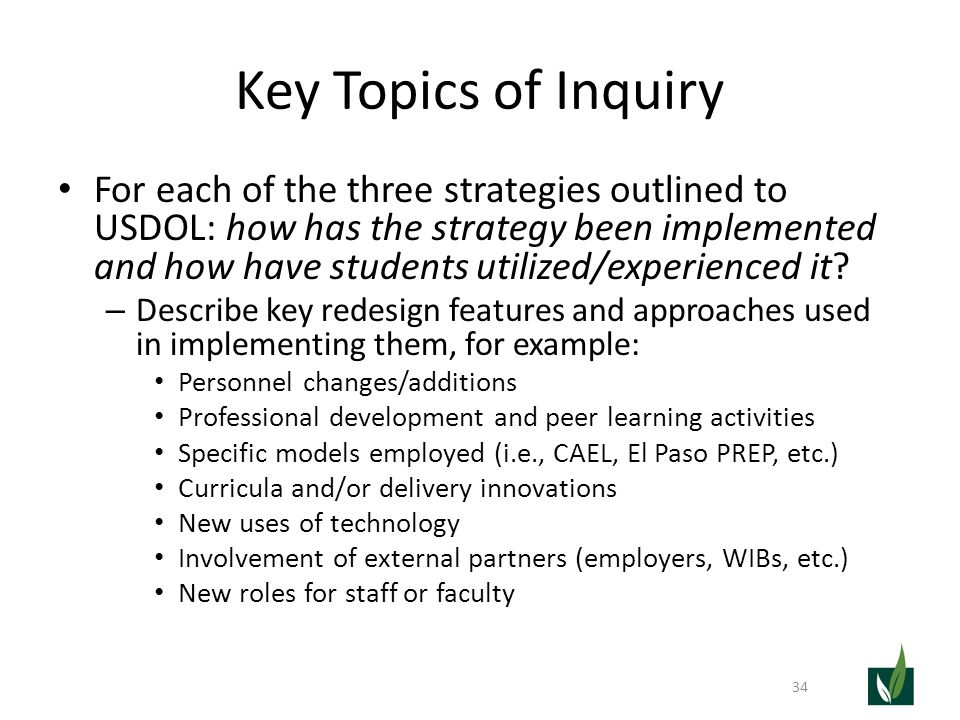 Key Topics of Inquiry For each of the three strategies outlined to USDOL: how has the strategy been implemented and how have students utilized/experie