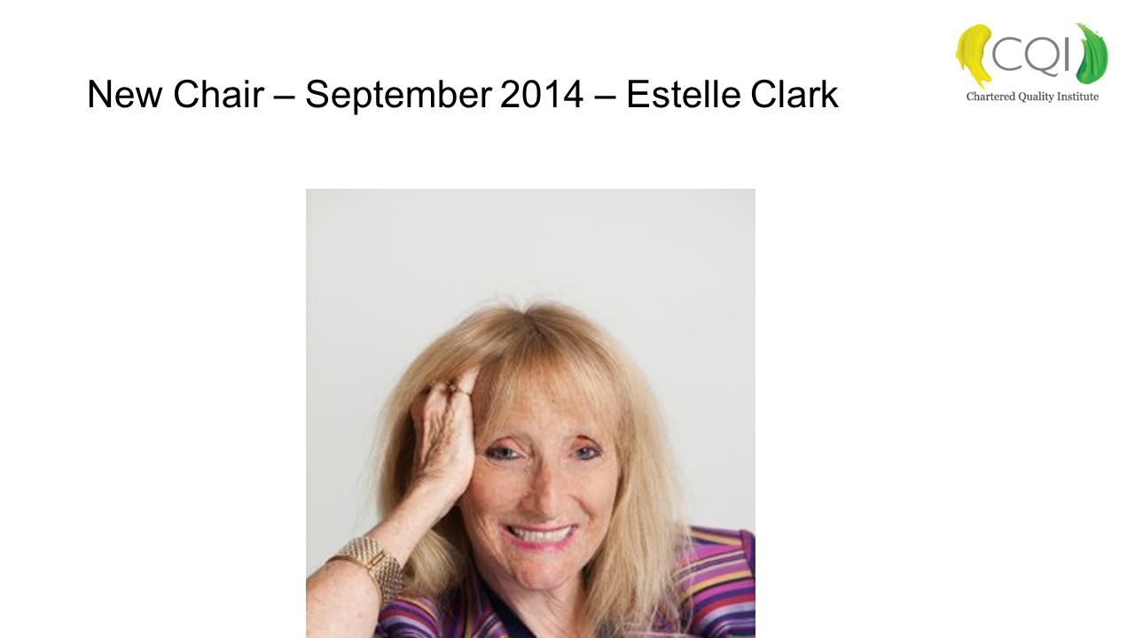 New Chair – September 2014 – Estelle Clark