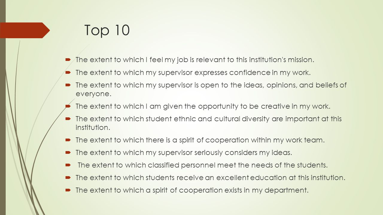 Top 10  The extent to which I feel my job is relevant to this institution's mission.  The extent to which my supervisor expresses confidence in my w