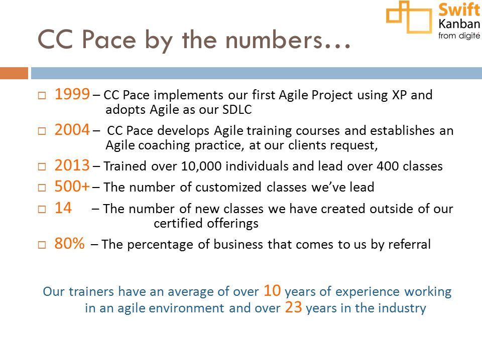 CC Pace by the numbers…  1999 – CC Pace implements our first Agile Project using XP and adopts Agile as our SDLC  2004 – CC Pace develops Agile trai
