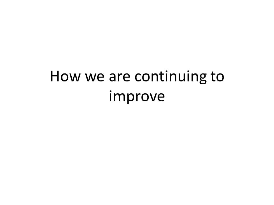 How we are continuing to improve