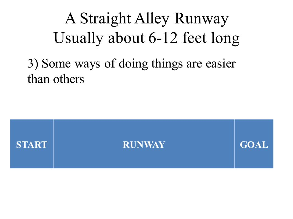 A Straight Alley Runway Usually about 6-12 feet long STARTRUNWAYGOAL 3) Some ways of doing things are easier than others