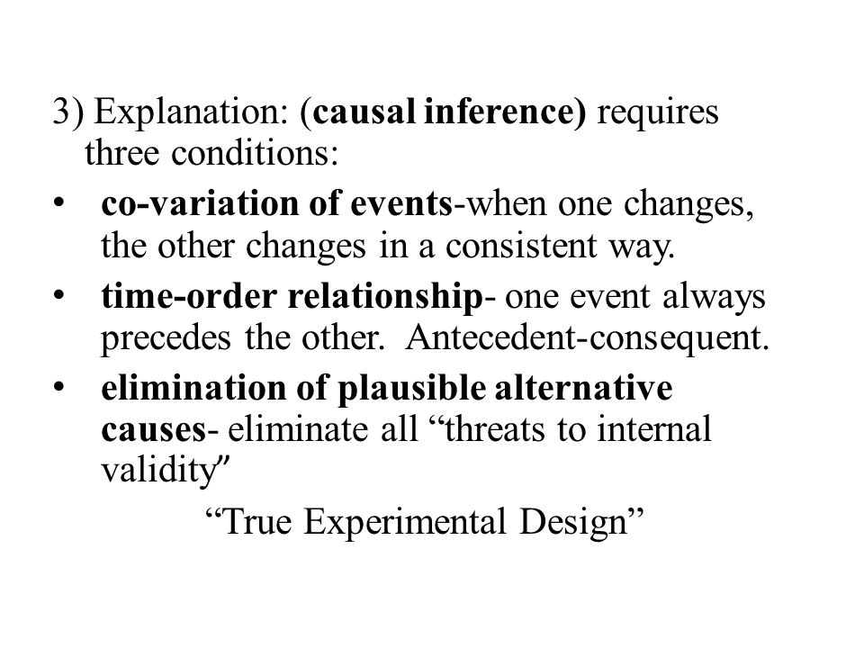 3) Explanation: (causal inference) requires three conditions: co-variation of events-when one changes, the other changes in a consistent way.