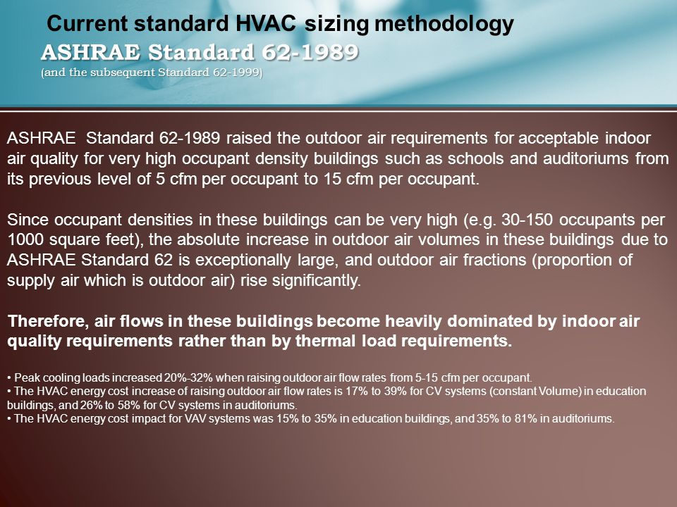 ASHRAE Standard 62-1989 (and the subsequent Standard 62-1999) ASHRAE Standard 62-1989 raised the outdoor air requirements for acceptable indoor air quality for very high occupant density buildings such as schools and auditoriums from its previous level of 5 cfm per occupant to 15 cfm per occupant.