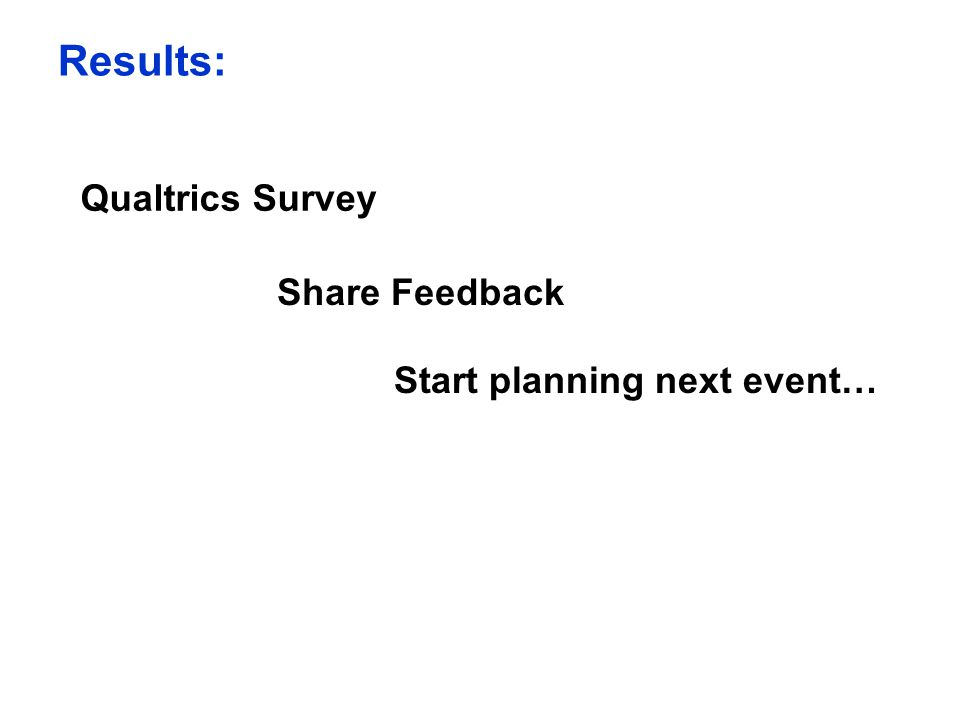 Qualtrics Survey Share Feedback Start planning next event… Results: