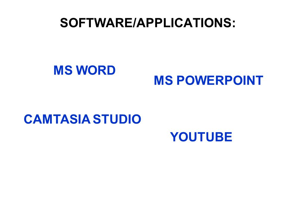 SOFTWARE/APPLICATIONS: MS WORD MS POWERPOINT CAMTASIA STUDIO YOUTUBE