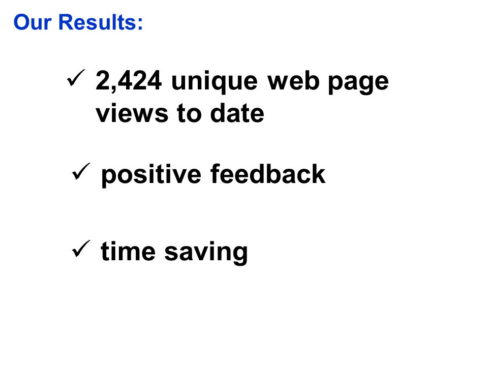 2,424 unique web page views to date positive feedback time saving Our Results: