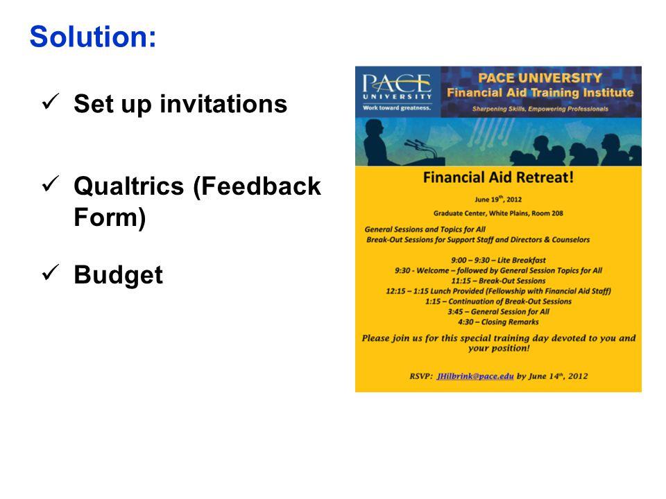 Solution: Set up invitations Qualtrics (Feedback Form) Budget