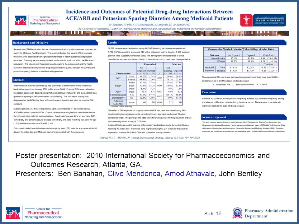 Poster presentation: 2010 International Society for Pharmacoeconomics and Outcomes Research, Atlanta, GA.