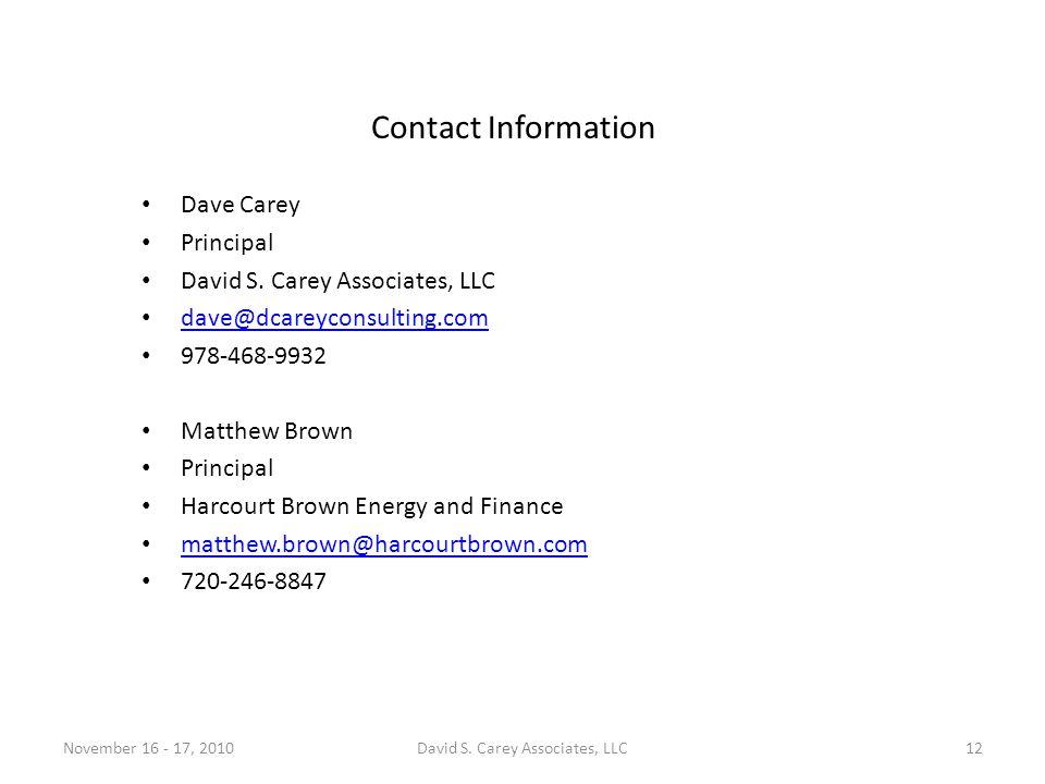 Contact Information Dave Carey Principal David S.