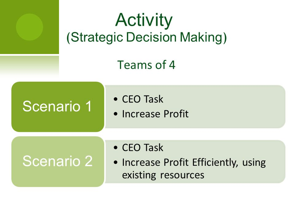 CEO Task Increase Profit Scenario 1 CEO Task Increase Profit Efficiently, using existing resources Scenario 2 Activity ( Strategic Decision Making ) T