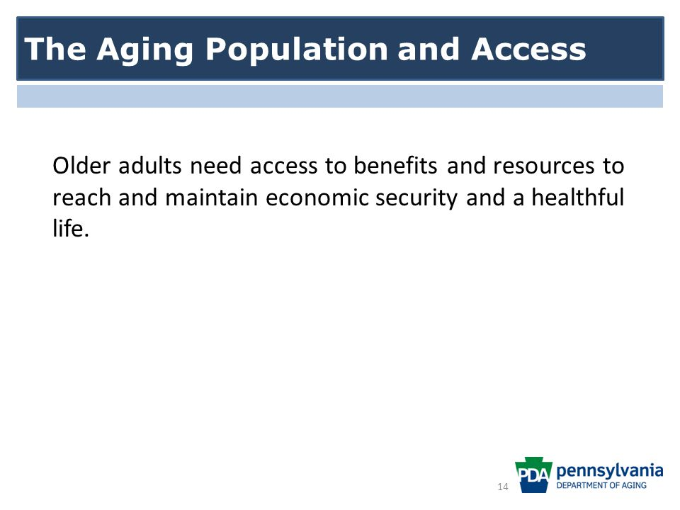Older adults need access to benefits and resources to reach and maintain economic security and a healthful life.