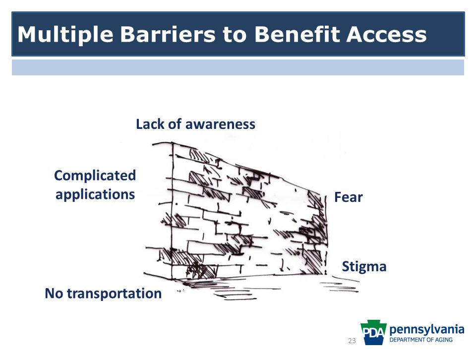 Multiple Barriers to Benefit Access Stigma Complicated applications Lack of awareness Fear No transportation 23