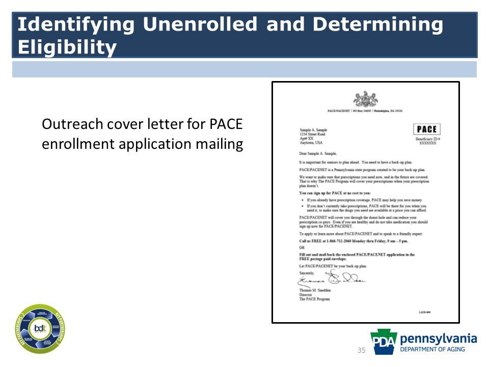 Identifying Unenrolled and Determining Eligibility Outreach cover letter for PACE enrollment application mailing 35