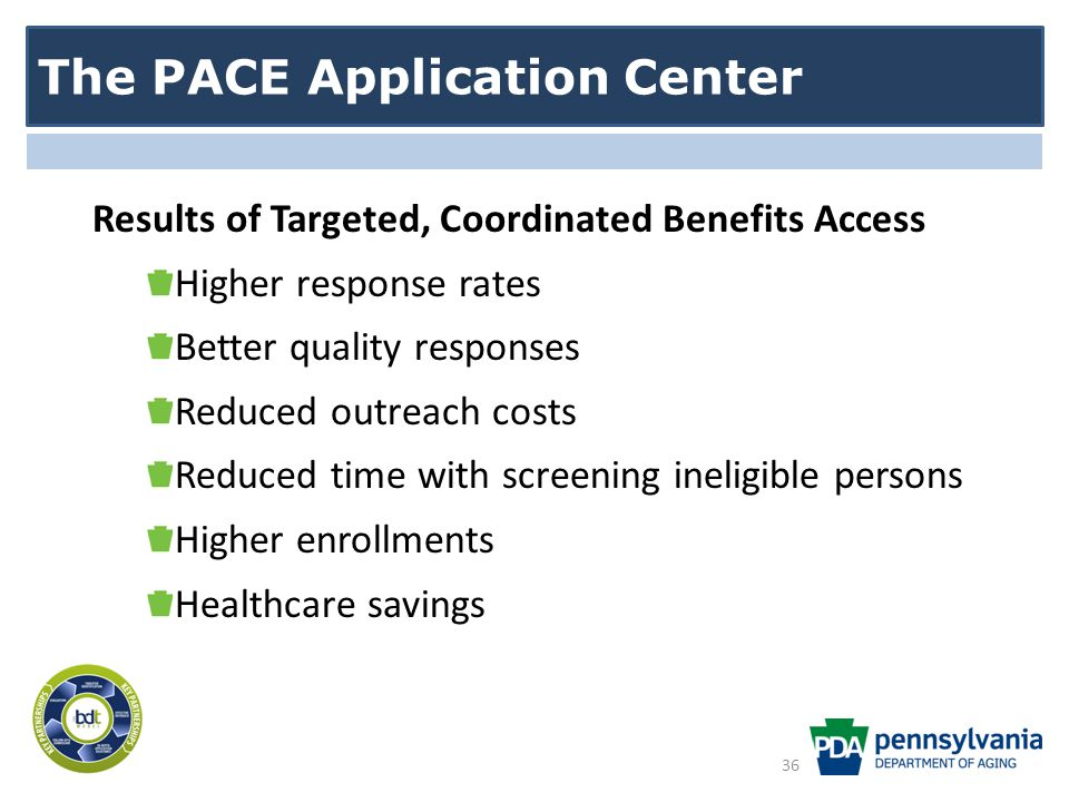 The PACE Application Center Results of Targeted, Coordinated Benefits Access Higher response rates Better quality responses Reduced outreach costs Reduced time with screening ineligible persons Higher enrollments Healthcare savings 36