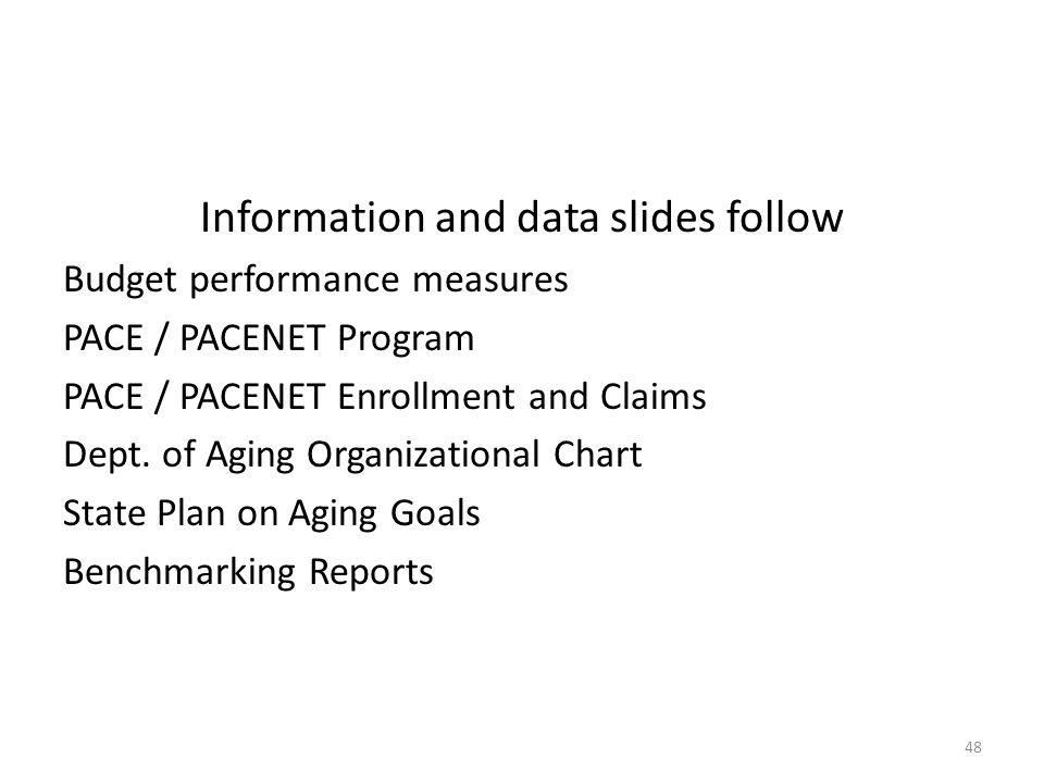 Information and data slides follow Budget performance measures PACE / PACENET Program PACE / PACENET Enrollment and Claims Dept.
