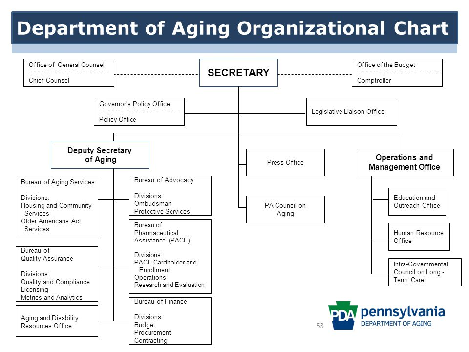 Department of Aging Organizational Chart SECRETARY Office of the Budget -------------------------------------- Comptroller Bureau of Pharmaceutical Assistance (PACE) Divisions: PACE Cardholder and Enrollment Operations Research and Evaluation Intra-Governmental Council on Long - Term Care Office of General Counsel ------------------------------------- Chief Counsel Governor's Policy Office ------------------------------------- Policy Office Legislative Liaison Office Deputy Secretary of Aging Operations and Management Office Bureau of Advocacy Divisions: Ombudsman Protective Services Education and Outreach Office Human Resource Office Bureau of Finance Divisions: Budget Procurement Contracting Bureau of Aging Services Divisions: Housing and Community Services Older Americans Act Services Bureau of Quality Assurance Divisions: Quality and Compliance Licensing Metrics and Analytics PA Council on Aging Press Office Aging and Disability Resources Office Department of Aging Organizational Chart 53