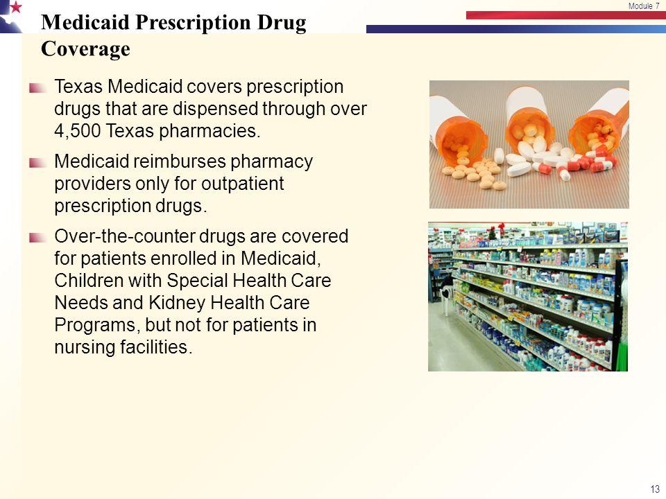 Medicaid Prescription Drug Coverage Texas Medicaid covers prescription drugs that are dispensed through over 4,500 Texas pharmacies. Medicaid reimburs