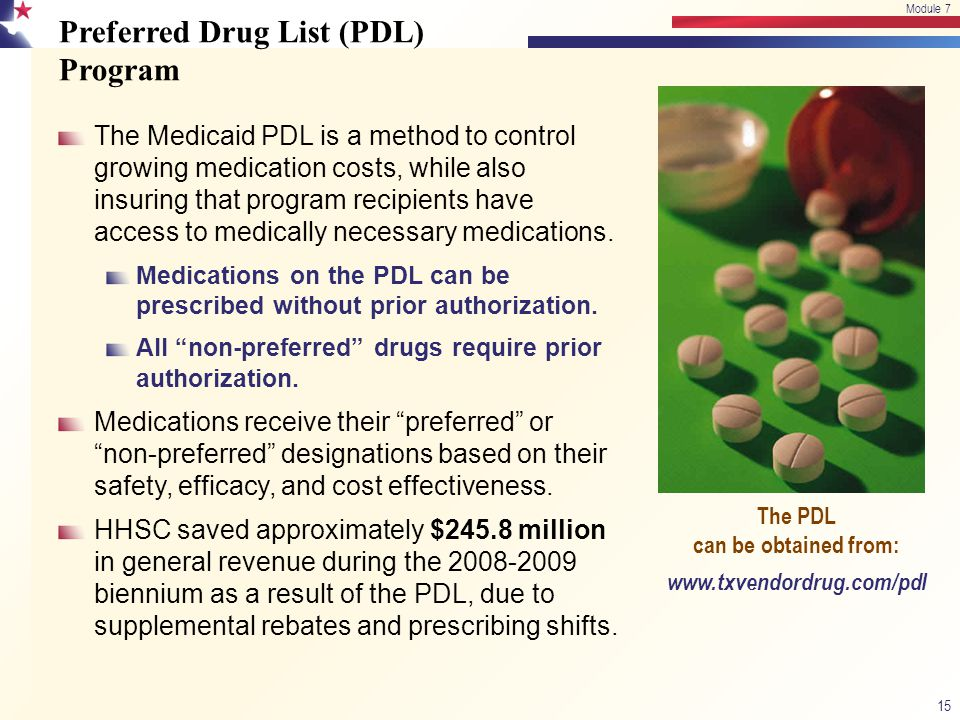 Preferred Drug List (PDL) Program The Medicaid PDL is a method to control growing medication costs, while also insuring that program recipients have a