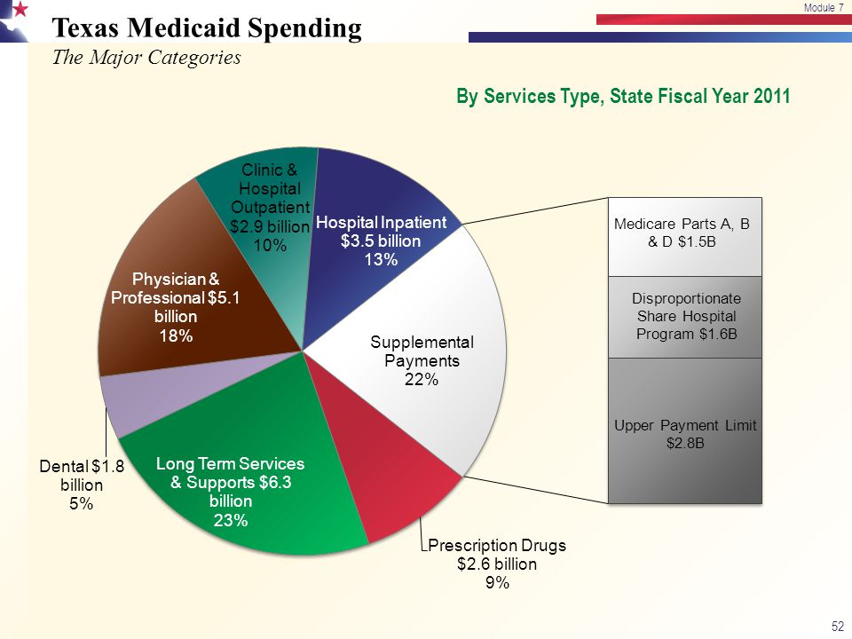 Texas Medicaid Spending The Major Categories 52 Module 7 By Services Type, State Fiscal Year 2011