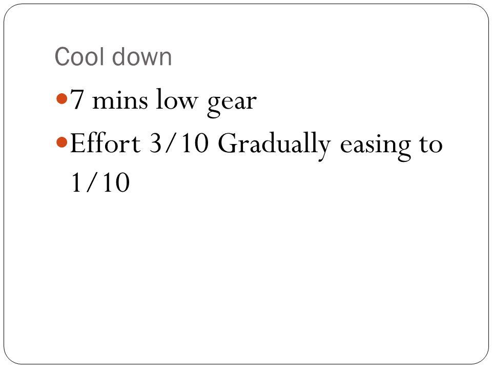 Cool down 7 mins low gear Effort 3/10 Gradually easing to 1/10
