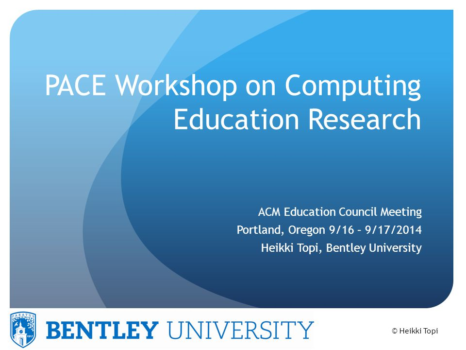 PACE Partnership for Advancing Computing Education A cross-society initiative to support communication and collaboration between academic and professional societies that have an active interest in computing education Launched in 2011 as a major follow-up of 2009 Future of Computing Education Summit Charter members ACM, AIS, CRA, CSTA, IEEE-CS, and NCWIT
