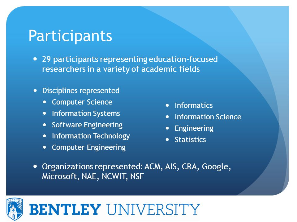 Participants Disciplines represented Computer Science Information Systems Software Engineering Information Technology Computer Engineering Informatics Information Science Engineering Statistics 29 participants representing education-focused researchers in a variety of academic fields Organizations represented: ACM, AIS, CRA, Google, Microsoft, NAE, NCWIT, NSF