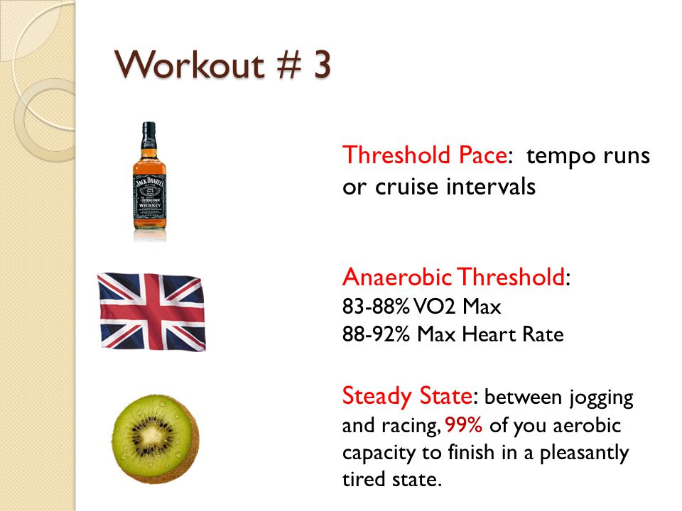 Workout # 3 Threshold Pace: tempo runs or cruise intervals Anaerobic Threshold: 83-88% VO2 Max 88-92% Max Heart Rate Steady State: between jogging and