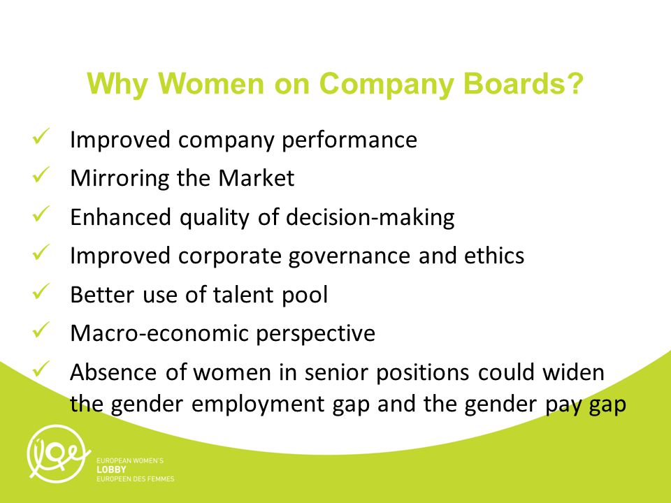 Why Women on Company Boards.