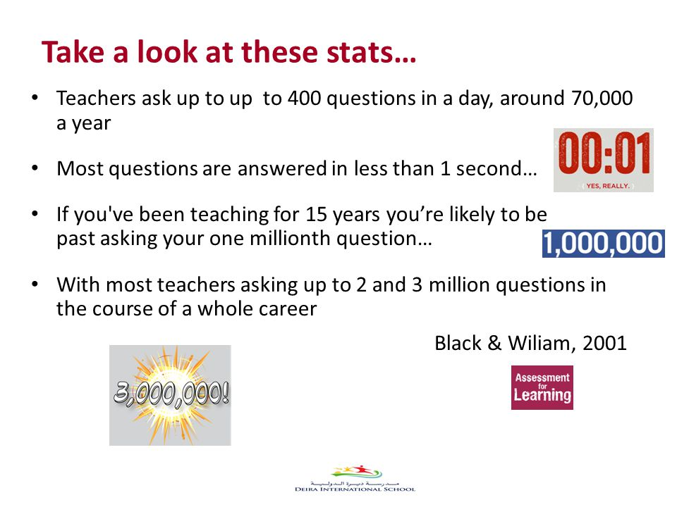 Take a look at these stats… Teachers ask up to up to 400 questions in a day, around 70,000 a year Most questions are answered in less than 1 second… If you ve been teaching for 15 years you're likely to be past asking your one millionth question… With most teachers asking up to 2 and 3 million questions in the course of a whole career Black & Wiliam, 2001