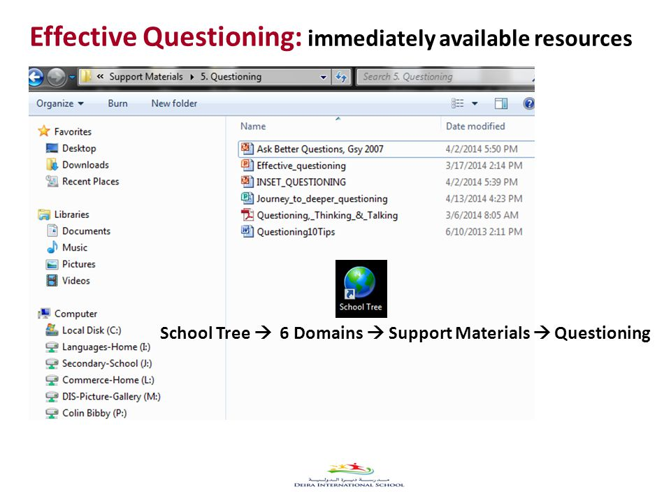 40 School Tree  6 Domains  Support Materials  Questioning Effective Questioning: immediately available resources