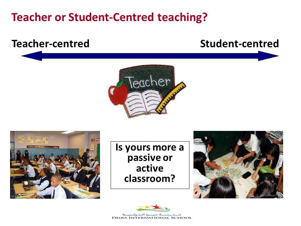 Teacher or Student-Centred teaching.