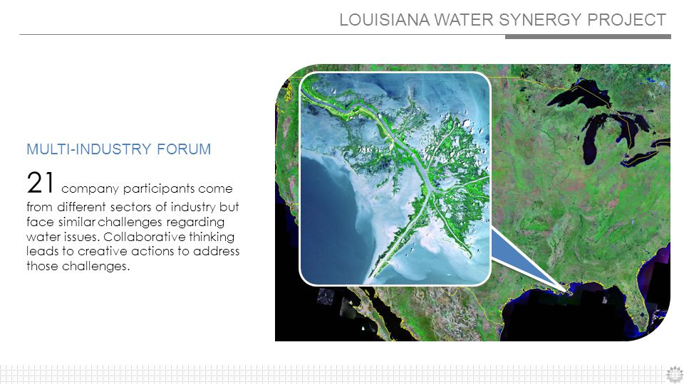 LOUISIANA WATER SYNERGY PROJECT 21 company participants come from different sectors of industry but face similar challenges regarding water issues.