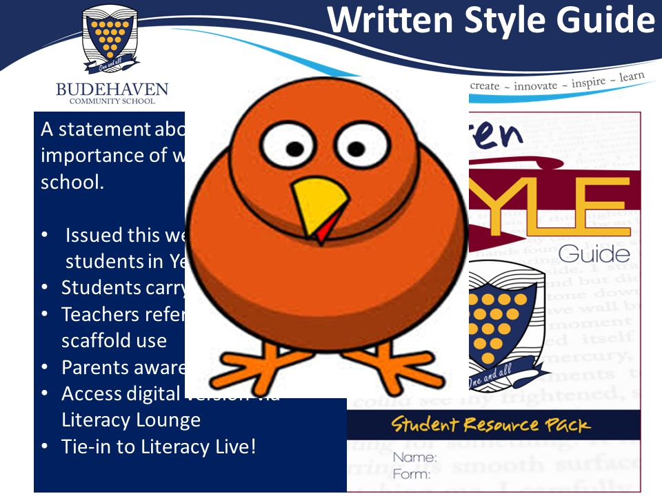 Written Style Guide A statement about the importance of writing in our school.