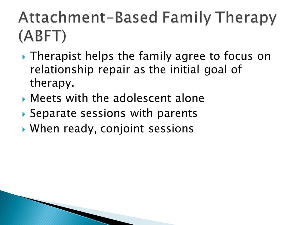  Therapist helps the family agree to focus on relationship repair as the initial goal of therapy.