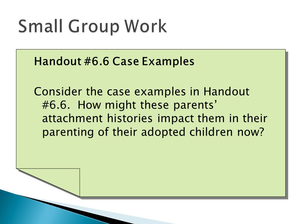 Handout #6.6 Case Examples Consider the case examples in Handout #6.6.