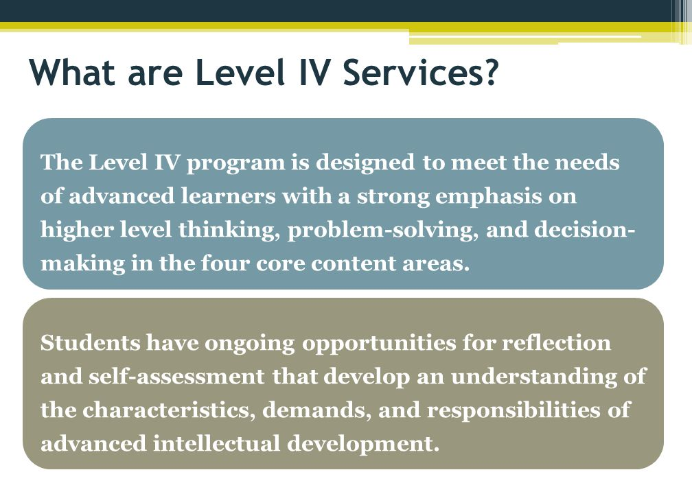 The Level IV program is designed to meet the needs of advanced learners with a strong emphasis on higher level thinking, problem-solving, and decision-making in the four core content areas.