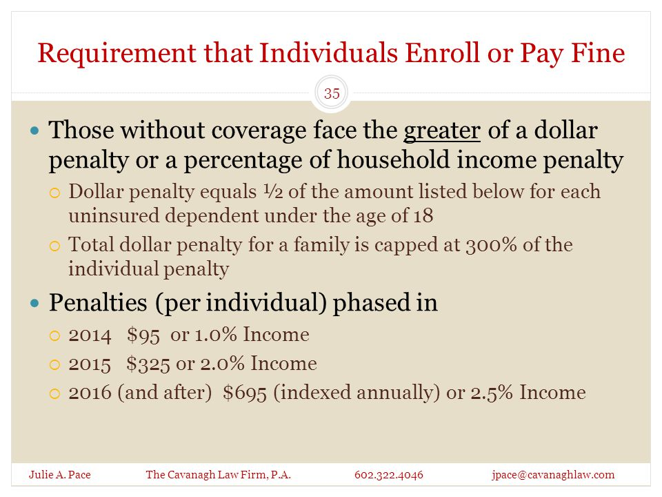 Requirement that Individuals Enroll or Pay Fine Julie A. Pace The Cavanagh Law Firm, P.A. 602.322.4046 jpace@cavanaghlaw.com Those without coverage fa