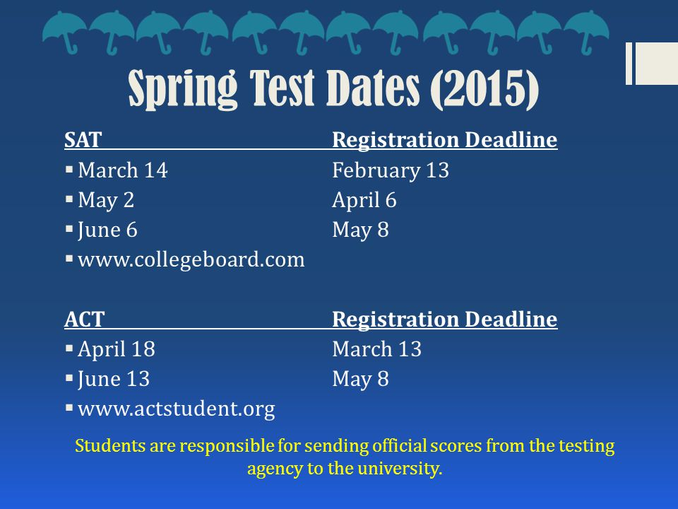 Spring Test Dates (2015) SAT Registration Deadline  March 14February 13  May 2April 6  June 6May 8  www.collegeboard.com ACTRegistration Deadline  April 18March 13  June 13May 8  www.actstudent.org Students are responsible for sending official scores from the testing agency to the university.