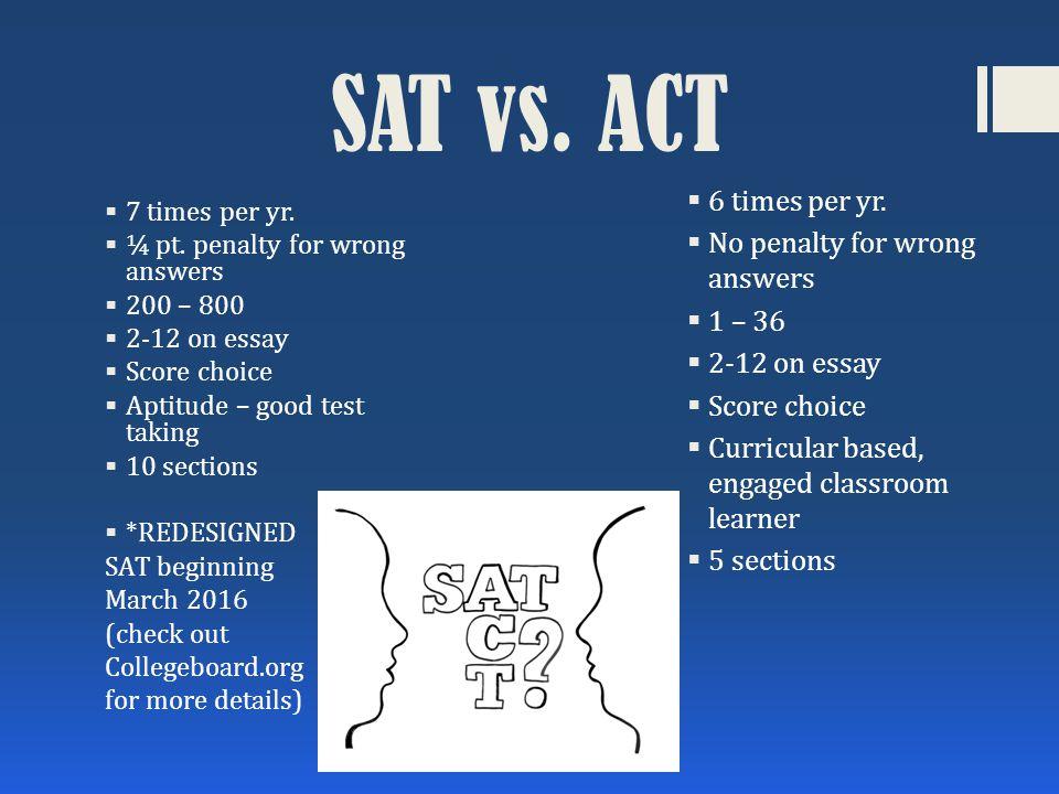 SAT vs. ACT  7 times per yr.  ¼ pt.