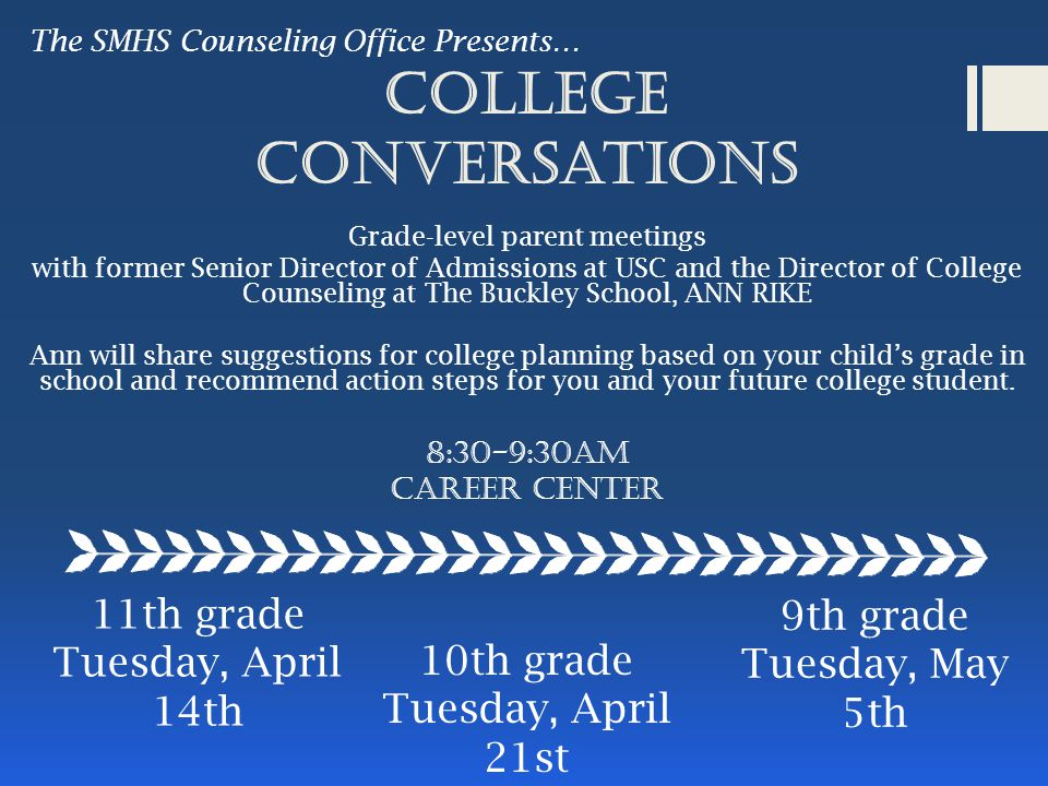 College Conversations Grade-level parent meetings with former Senior Director of Admissions at USC and the Director of College Counseling at The Buckley School, ANN RIKE Ann will share suggestions for college planning based on your child's grade in school and recommend action steps for you and your future college student.